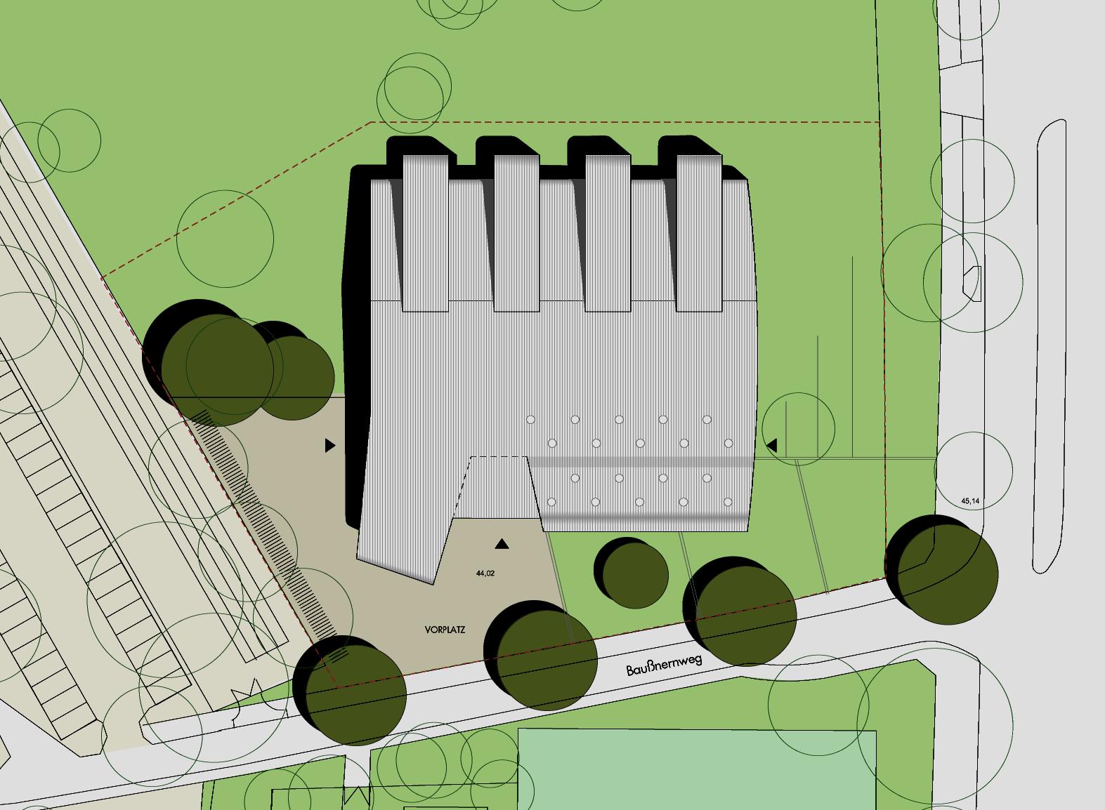 Dreifeld-Sporthalle Baußnernweg, Berlin-Marienfelde: Lageplan