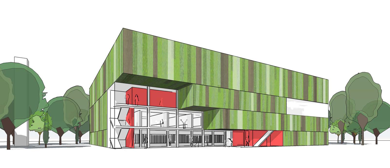 Neubau einer zweifachen Dreifeldsporthalle, Karlsruhe